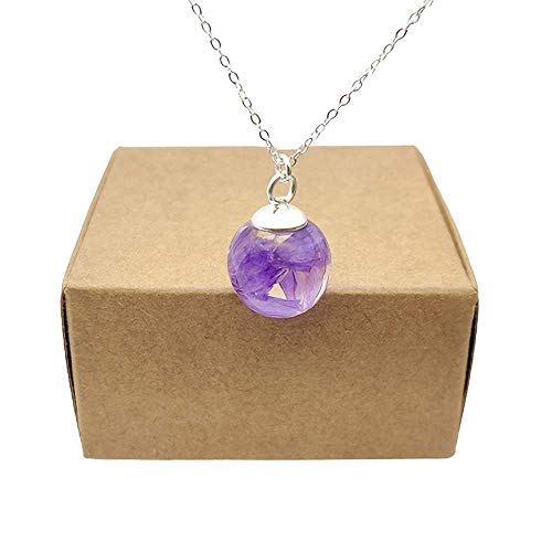 Purple Forget Me Not Myosotis Real Flower Resin Glass Ball Pendant 925 Sterling Silver Chain Necklace