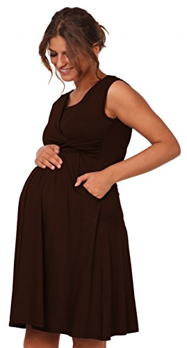 Happy Mama - - Vestido para lactancia 2 en 1, con bolsillos. 500p negro chocolate Medium