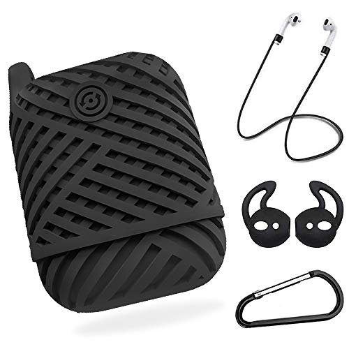 WWCY AirPods Case Cover, Protective Silicone Cover with Airpods Accessories for Apple AirPods 2 & 1 - Black