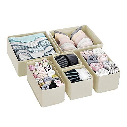 Qisiewell Unterwäsche-Aufbewahrungsbox Schublade Organizer Kleiderschrankschubladen Divider für Socken BHS Krawatten Faltbox Stoffbox Schrank 6er Set Creme