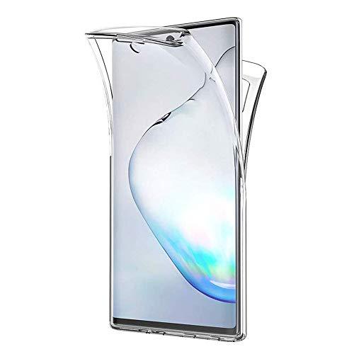 Mkej 360-Degrés Transparent Silicone Coque pour Samsung Galaxy Note 10 Plus, 2 en 1 Avant Et Arrière Etui Contour Avant et Arrière Full Protection Cover Bumper pour Samsung Galaxy Note 10 Plus