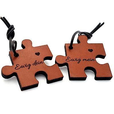 CHRISCK design Echtes Leder Schlüsselanhänger mit Namen - Gravur Puzzle Partner Liebes Geschenk Geschenkidee Vatertag Valentinstag Geburtstag