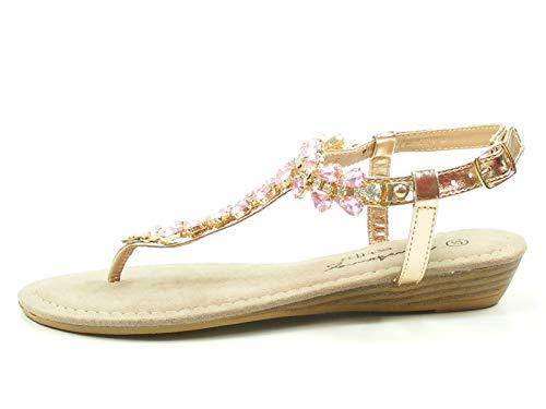 MUSTANG 1274-802 Schuhe Damen Zehentrenner Sandaletten, Größe:41 EU, Farbe:Rosa