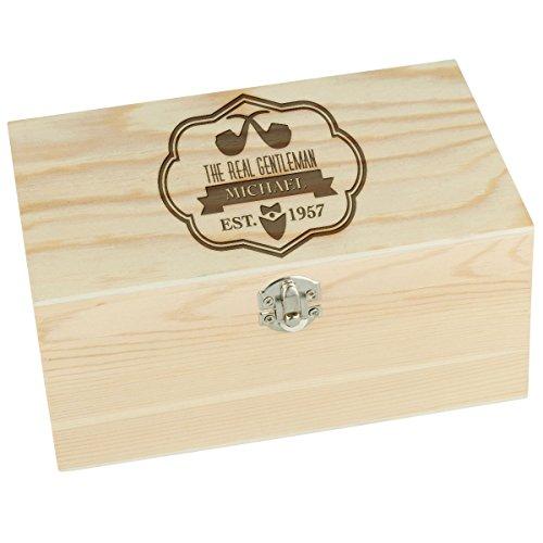 Houten box groot rechthoekig kist doos verpakking decoratie grenen natuur met individuele gravure 220 x 100 x 140 mm