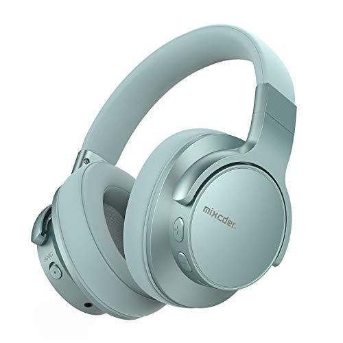Mixcder E7 Auriculares Bluetooth 5.0 con Cancelacón Activa de Ruido, Cascos Inalámbricos Bluetooth con Micrófono, Hi-Fi Sonido Estéreo, Carga Rápida, 30 Horas de Juego (Verde)
