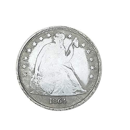 Xinmeitezhubao Vintage Silbermünze, amerikanische 1864 antike weiße Kupfer Silbermünze, Silberdollomünzendurchmesser 38MM