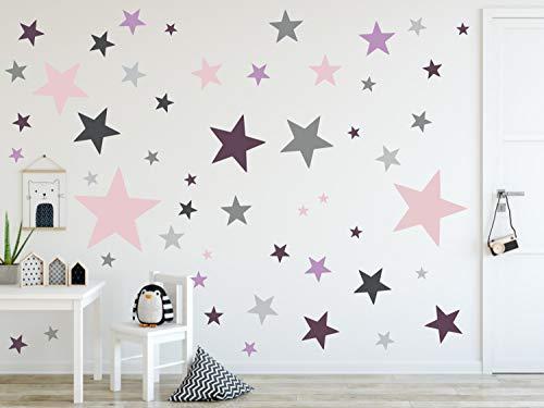timalo® 120 Stück Wandtattoo Kinderzimmer XL Sterne Pastell Wandsticker – Aufkleber | 73079-SET27-120