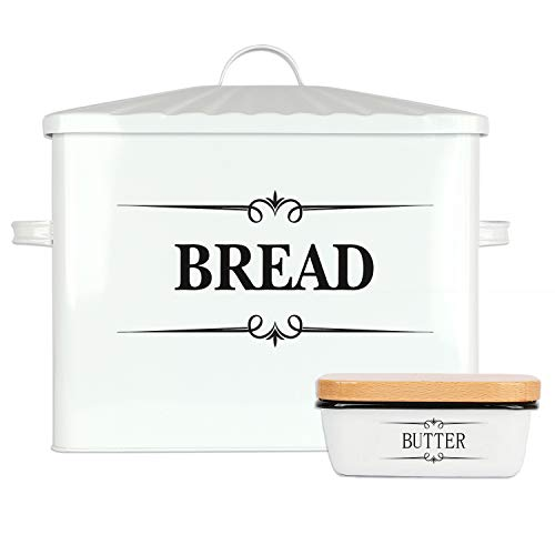 "Houseables Bread Box & Butter Dish Set, 15.25"" x 12.5"" x 7"", Extra Large, Metal, Enameled Storage Containers, Food Bin w/Lid, Rustic Enamelware, Vintage Decor, Farmhouse, Kitchen Counter Keeper"