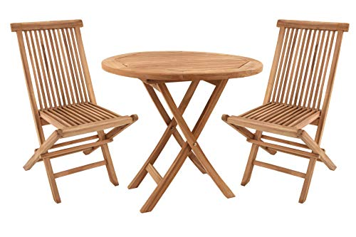 BENEFFITO SALENTO - Conjunto de jardín Mesa Redonda y sillas Plegables en Teca - Ø 80 x 75 cm - 4 Personas - Sillas X 2