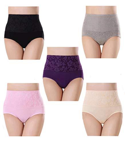 Vita Alta Slip da Donna Controllo della Pancia Mutande in Cotone Culotte Multicolore Pacco da 5 Tag 2XL (IT 44-46)