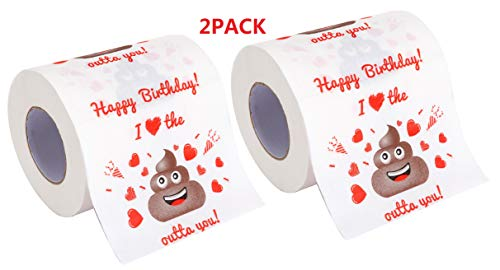 Ocosy 2Pack Happy Birthday Funny Joke Prank Gift Novelty Toilet Paper - Funny Gag Birthday Gift (2Pk)