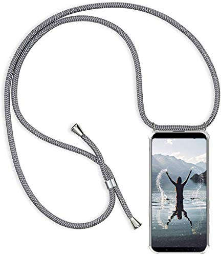 Handykette Handyhülle für Samsung Galaxy A70 mit Band - Handy-Kette Handy Hülle mit Kordel zum Umhängen Handyanhänger Halsband Lanyard Case-Grau