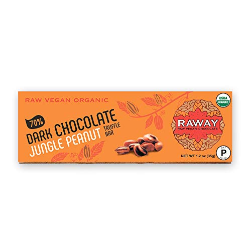 RAWAY Vegan Chocolate   Paleo 70% Dark Chocolate Jungle Peanut Truffle Bar   Raw, Organic, Dairy-Free, Gluten-Free, Refined Sugar-Free, Soy-Free, Low carb, Non-GMO, Kosher Dark Chocolate   12 count