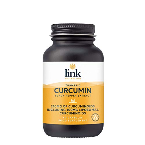Curcumin, Turmeric & Black Pepper Extract | 210mg curcuminoids per dose Including 100mg liposomal curcuminoids | Vegan | 60 Capsules