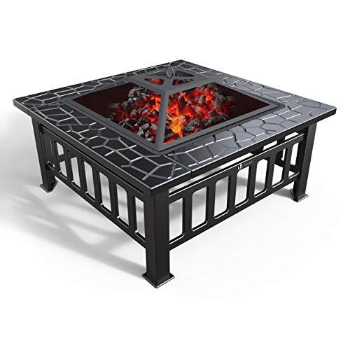 VOUNOT Brasero Exterior para Jardín y Terraza, 3 en 1 Metal Fire Pit, Pozo de Fuego con Barbacoa, 81 x 81 x 45 cm
