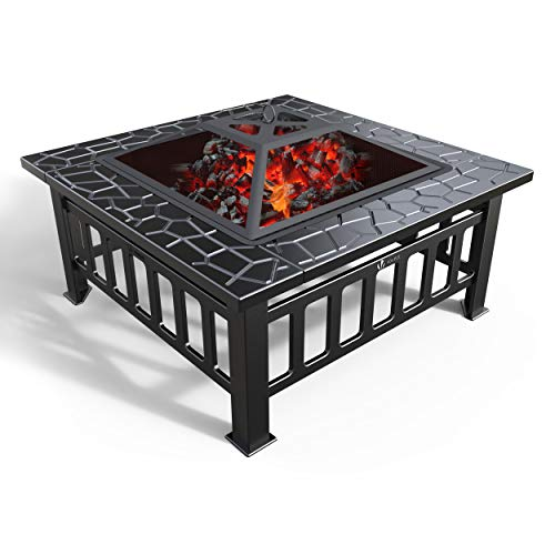 VOUNOT Fire Pit Table with BBQ Grill Shelf, 3 in 1...