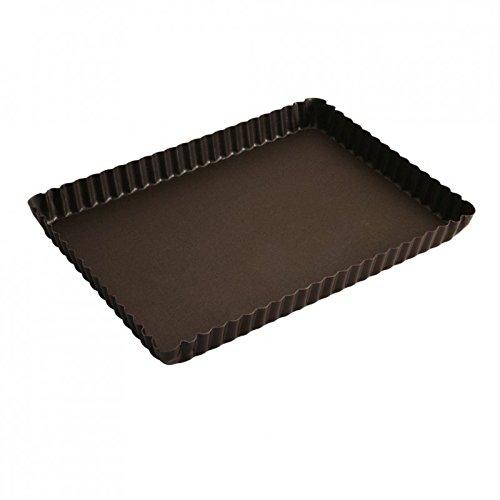 Gobel 225710 Moule à tarte Rectangulaire 29*20,5 cm bord Cannelé Fond Fixe Anti-Adhérent