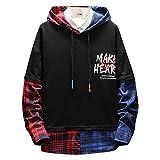 Balock Schuhe Hip-Hop Lässiger Langarmpullover,Fashion Casual Graffiti Brief Print Streetwear Stil Pullover Tops, Herren Damen Hoodie Langarm Sweatershirt Tops (Schwarz 2, 5XL)
