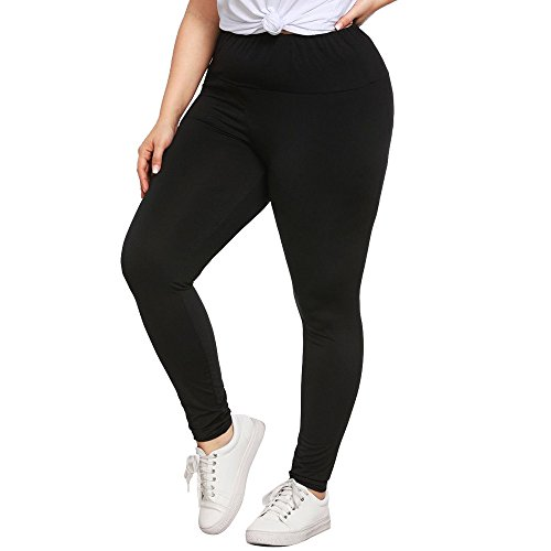 SHOBDW Mujer Moda Talla Grande Cintura Sexy Leggings Capri Fitness Mallas para Correr Deporte Gimnasio Entrenamiento Pantalones Yoga Deporte Pantalones Deportivos Deportivos(Negro,5XL) 🔥