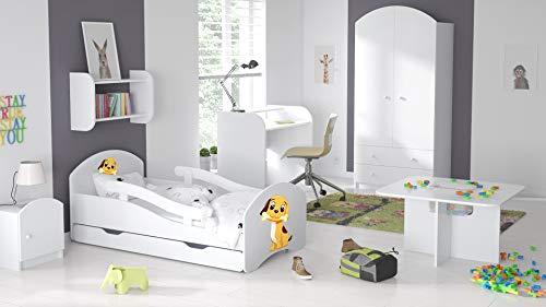 BDW Cama infantil juvenil 140, 160 y 180 con un cajón con colchón con diseño (180 x 80 cm), color blanco