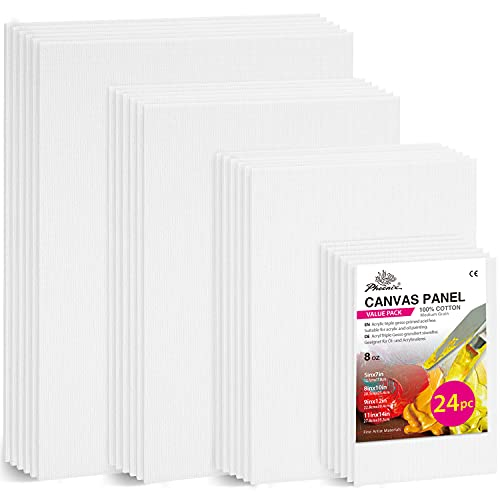 PHOENIX Painting Canvas Panels Multi Pack - 5x7, 8x10, 9x12, 11x14 Inch (6 of...