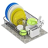 Dish Drying Rack, Cambond Small Dish Drainer with Drying Mat On Counter or In Sink Dish Racks with Utensil Holder (Black)
