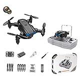 F Fityle KY906 Mini Drone Plegable 4K WiFi Retorno de una tecla 360 Rolling Auto Rotación Altitud Hold 3 Modos de Velocidad Sensor de Gravedad Drones de - Cámara Dual Negra 1B