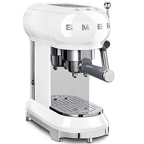 Smeg ECF01WHEU - Cafetera Espresso, Blanco