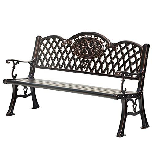 Banco de aluminio fundido al aire libre, asiento de banco de jardín, respaldo hueco de hierro forjado, terraza de balcón anti-corro adecuado para exteriores e interiores