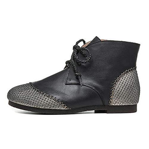 Botas de tobillo casuales con costuras de cuero para mujer, tacón bajo, punta redonda, con cordones, para exteriores, color negro, 40
