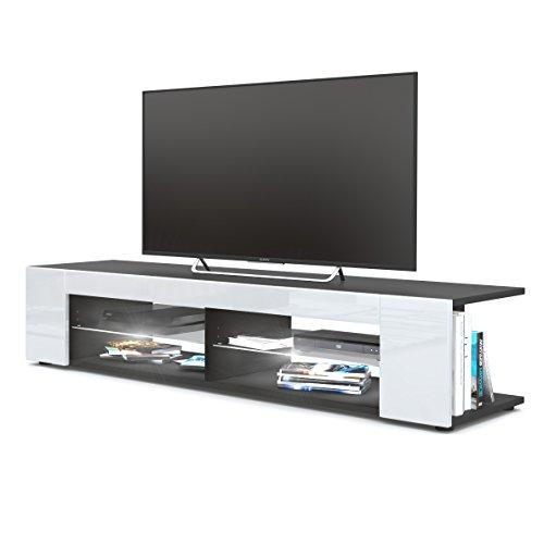 Vladon TV Board Lowboard Movie, Korpus in Schwarz matt/Fronten in Weiß Hochglanz inkl. LED Beleuchtung in Weiß