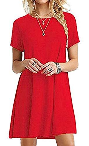 ZIOOER Damen Kleider Casual MiniKleid Langes Shirt Lose Freizeitkleider Tunika Kurzarm Tshirt Kleid Abendkleid Rot M
