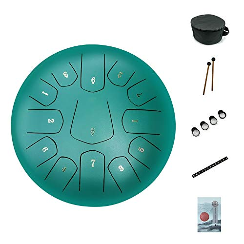 Steel Tongue Drum,ASTEMAN 12 inch 13 Notes Tongue Drum,Steel Drums Percussion Instrument with Bag, Music Book, Mallets, notes sticker,Finger Picks(matte green)