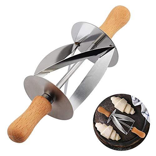 Roestvrij stalen Croissant Roller Cutter Cake Brood Rolling Deeg Cutter - voor het maken van Croissant Met Houten Handvat Rolling Mes Keuken Bakgereedschap