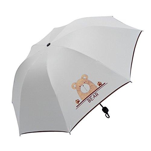 Maibar Sonnenschirm UV Taschenschirme Stockschirme Frauen Anti-UV Tier Karikatur Gemalt Regenschirm Klappschirme Leicht Frauen Dame Kinder (Bier)