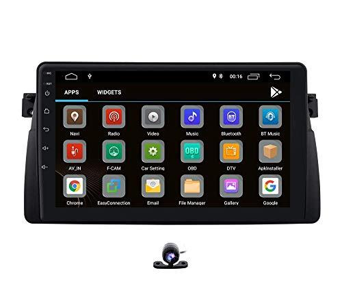 Android 10 Car GPS Navigation Bluetooth Vehículo Radio estéreo con Enlace de Espejo WiFi SWC Compatible con BMW Serie 3 BMW E46-Sedan/Coupe/Convertible/Touring/Hatchback/M3, Rover 75, MG ZT