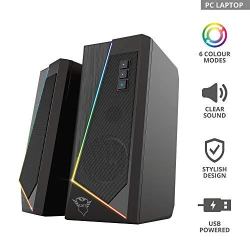 Trust Gaming Lautsprecher für PC GXT 609 Zoxa - Computer Boxen, Lautsprecherset mit 6 Verschiedene RGB Beleuchtungsarten, Stromversorgung über USB, 12W, PC/Laptop
