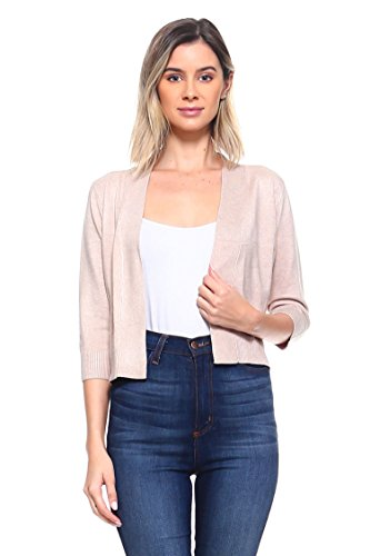 Cielo Women's Soft Solid Open Front 3/4 Sleeve Sweater Cardigan Khaki Large