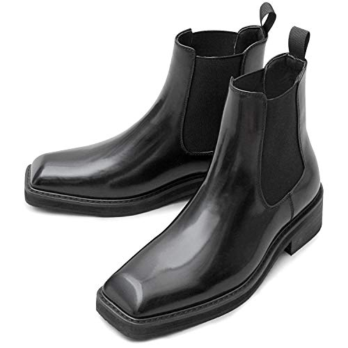 glabella グラベラ サイドゴアブーツ スクエアトゥ メンズブーツ チェルシーブーツ glbb-188-M-BK-B サイズ:M(26.0cm-26.5cm) ブラック-B ※返品不可
