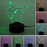 Pokemon Pikachu 3D Illusion LED Nachtlicht, 7 Farben Allmählich wechselnde Touch Switch USB...