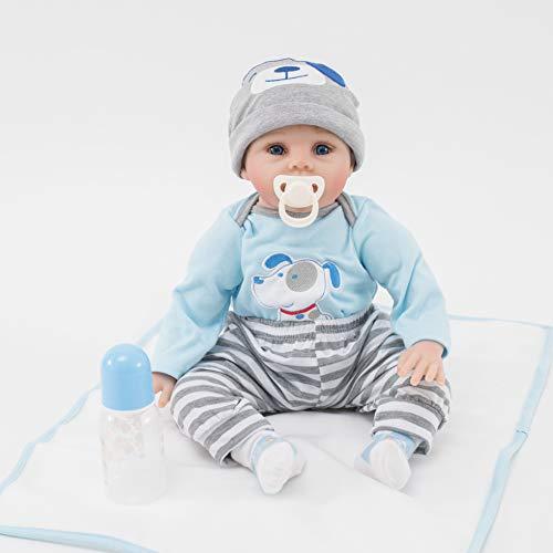 ZIYIUI 22Pulgadas 55cm Muñecos Bebé Reborn Niño Realista Recién Nacido Silicona Suave Cuerpo Reborn Bebé Muñecas Azul Ojos Reborn Doll Boy Regalos Juguete
