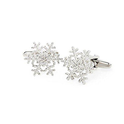Healifty Paar Schneeflocke Design Kupfer Manschettenknöpfe für Anzug Shirt Schmuck Dekoration Weihnachten Geburtstag gefallen Geschenk (Silber)
