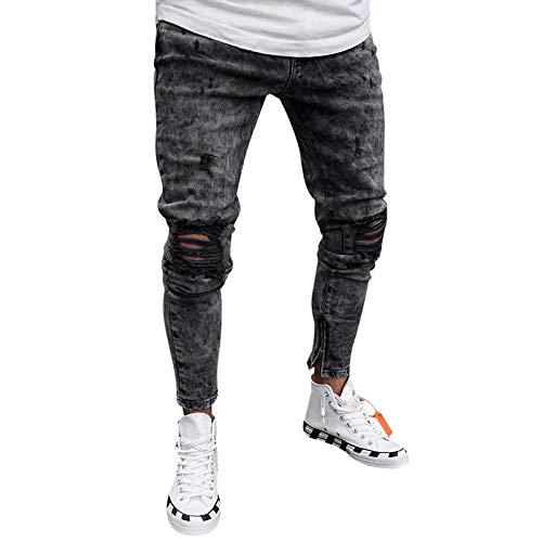 Pantalones Jeans Vaqueros Jeans Men Men Clothes Denim Pants Distressed Slim Fit Casual Trousers Stretch Ripped Jeans XXXL Color1