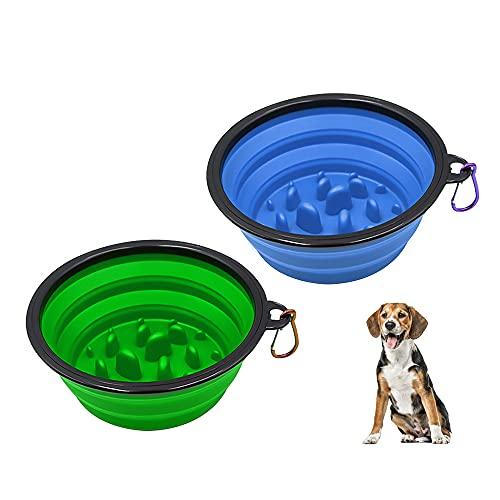 AISHNA 2 cuencos para perros de 17,5 cm de diámetro, de silicona, plegables, interactivos, no tóxico y saludable (azul, verde)