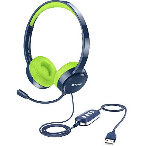 Mpow PC Headset 071, USB Headset, 3,5mm PC Headset für Online-Kurs, Gaming, e-Learning, Computer Kinder Kopfhörer mit Noise-Cancelling-Mikrofon für Hochschüler,Telefon Headset Skype-Konferenz