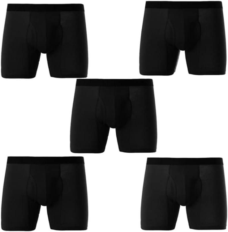 SSMDYLYM Panties Men's Long Leg Boxer Cotton Man Underwear Underpants Boxer Breathable Shorts (Color : Black, Size : XL Code)