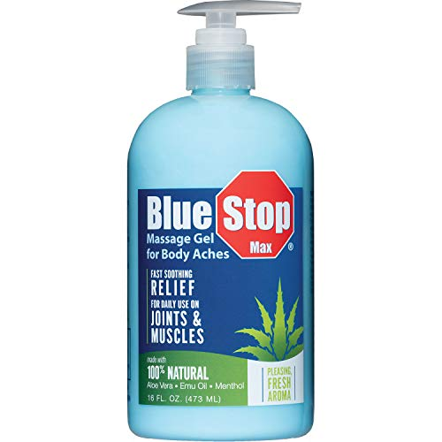 Blue Stop Max Massage Gel for Body Aches, 16 Oz Pump Bottle; Every Day, Every Ache. Safe Relief