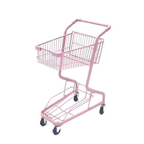 Wagon Portable Klapp Doppel-Schmiedeeisen Warenkorb rosa Körper ist langlebig