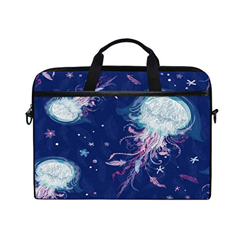 Laptop Sleeve Case,Laptop Bag,Underwater Jellyfish Water Briefcase Messenger Notebook Computer Bag with Shoulder Strap Handle,29×40 CM/15.6 Inch