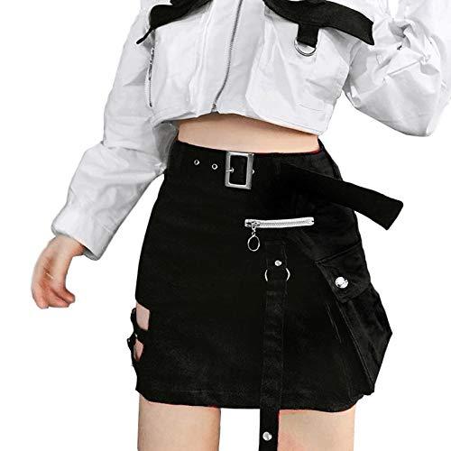 XIANGLIOOD - Falda de cintura alta para mujer, estilo gótico, color negro, ajustada,...